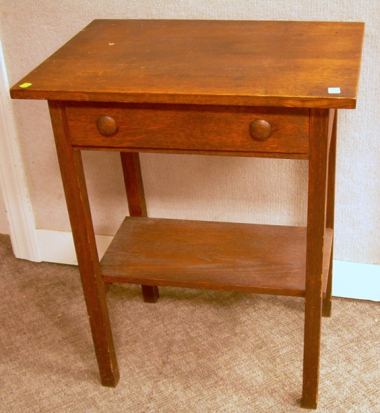 Arts & Crafts Oak One-Drawer Stand.