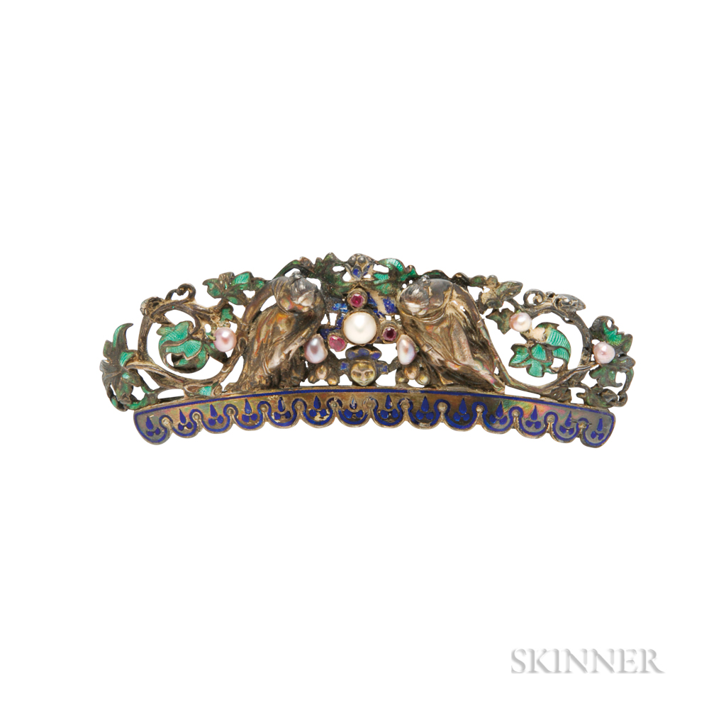 Antique Silver and Enamel Hair Comb