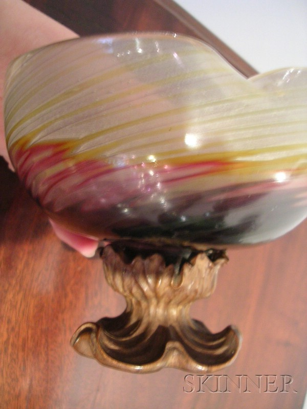 Unusual Galle Glass and Carved Walnut Footed Bowl