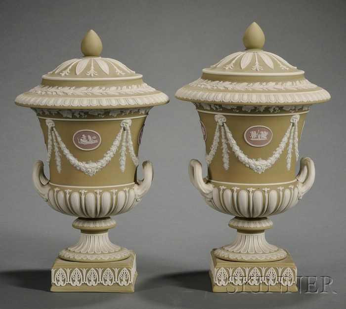 Pair of Wedgwood Three-Color Jasper Dip Vases and Covers