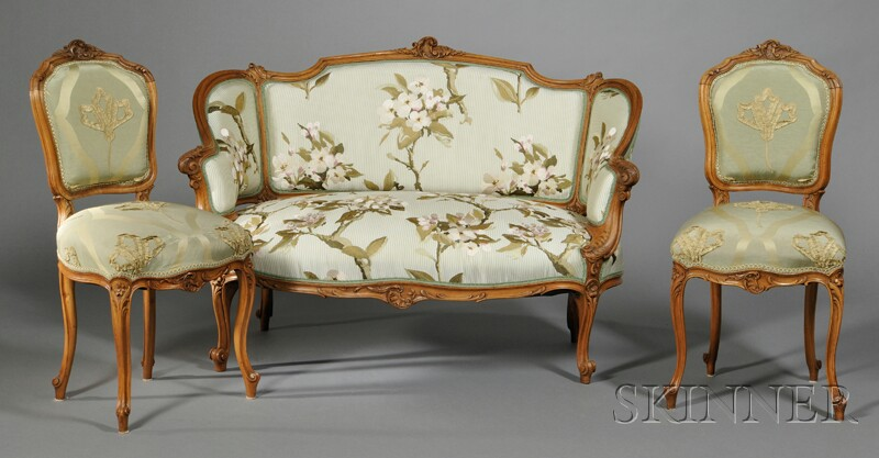 Two Louis XV-style Upholstered Side Chairs and a Settee
