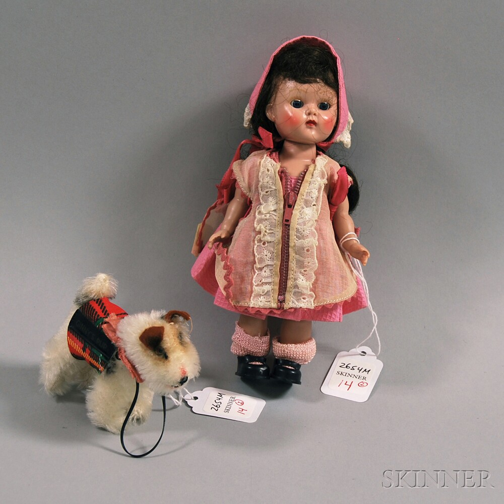 """Vogue Painted Lash Walker Hard Plastic Ginny Doll and Steiff """"Ginny's Pup,"""""""