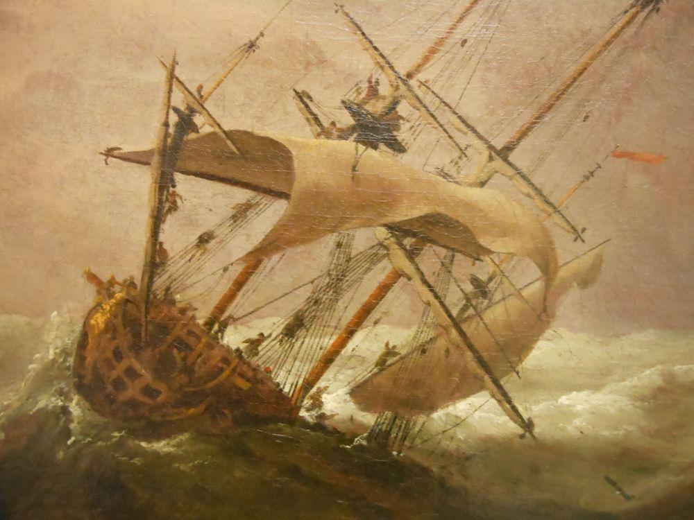 School of William Van de Velde II (Dutch, 1633-1707)      Ships in Distress off a Rocky Coast