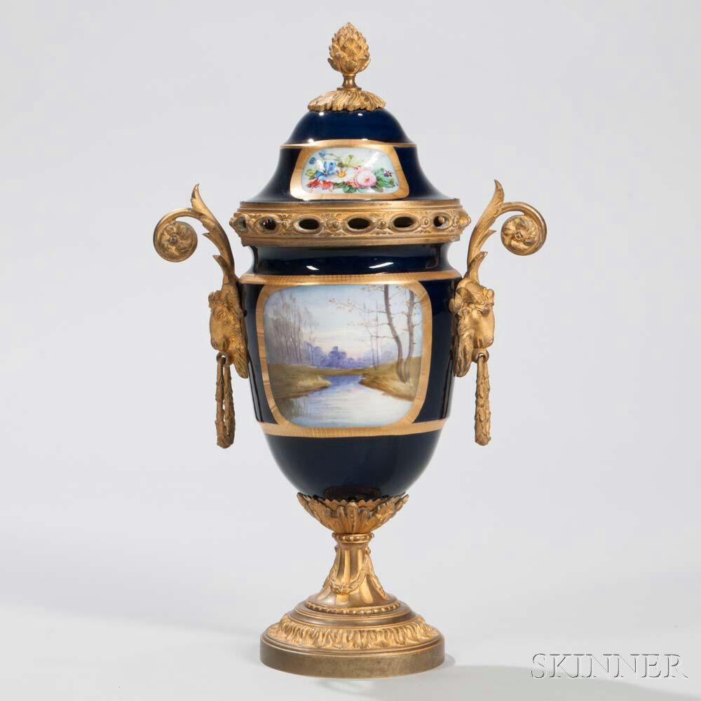 Gilt-bronze-mounted Sevres-style Porcelain Vase and Cover