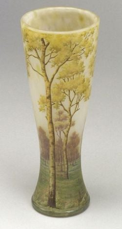 Daum Scenic Birch Tree Art Glass Vase