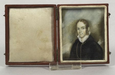American School, 19th Century  Miniature Portrait of a Young Woman.