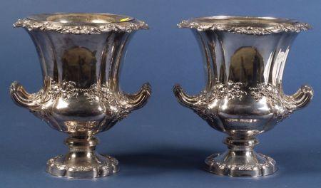 Pair of English Silver Plated Wine Coolers