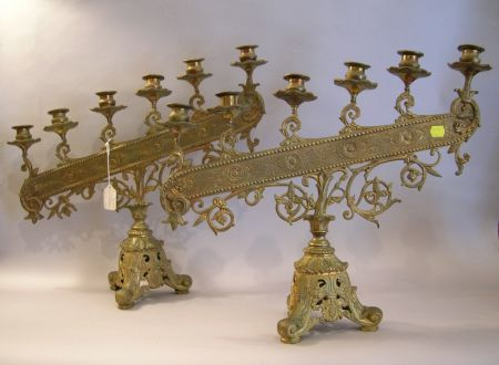 Pair of Victorian Gilt Brass Six-Light Candelabra and a Late Victorian Cast Brass Three-Tier Piano Lamp/Table.