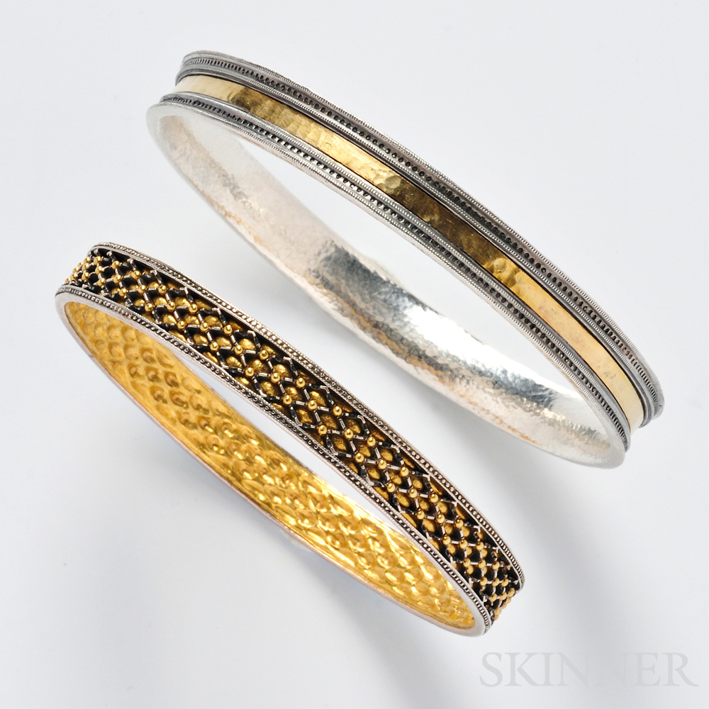 Two Sterling Silver and High-karat Gold Bangles, Gurhan
