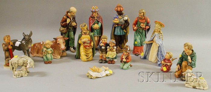 Seventeen-piece Hummel Ceramic Nativity Set