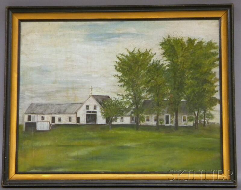 19th Century American School Oil on Canvas Portrait of a Farmhouse