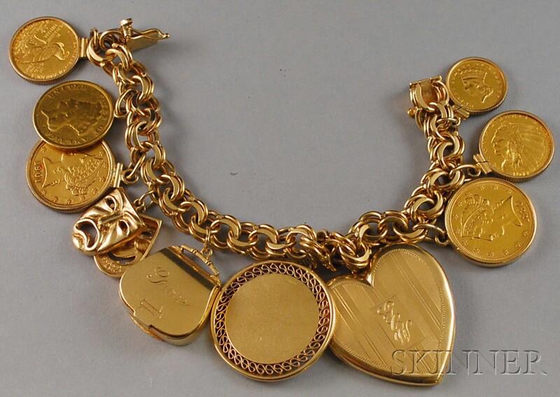 Heavy 14kt Gold Coin Charm Bracelet