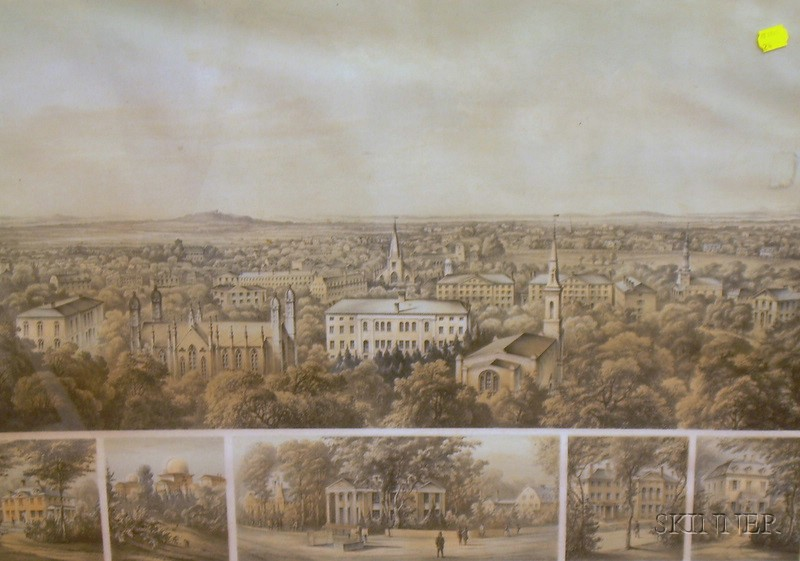 Framed Lithograph Bird's Eye View of Harvard College and Cambridge.