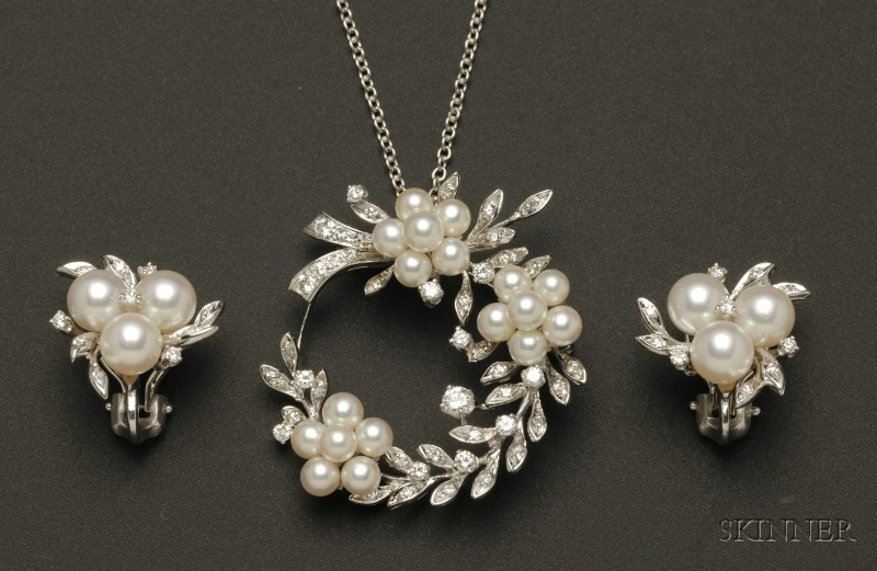 14kt White Gold, Diamond, and Pearl Pendant/Brooch, and Earrings Suite.