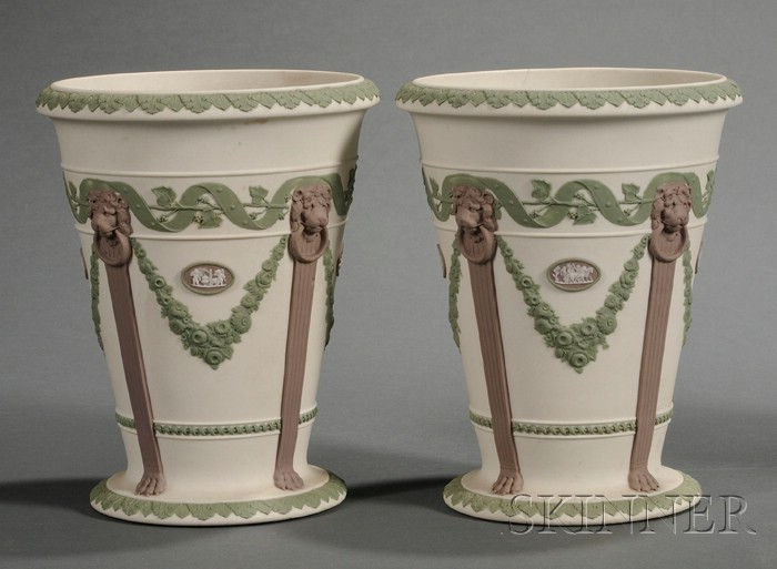 Pair of Wedgwood Three-Color Jasper Vases