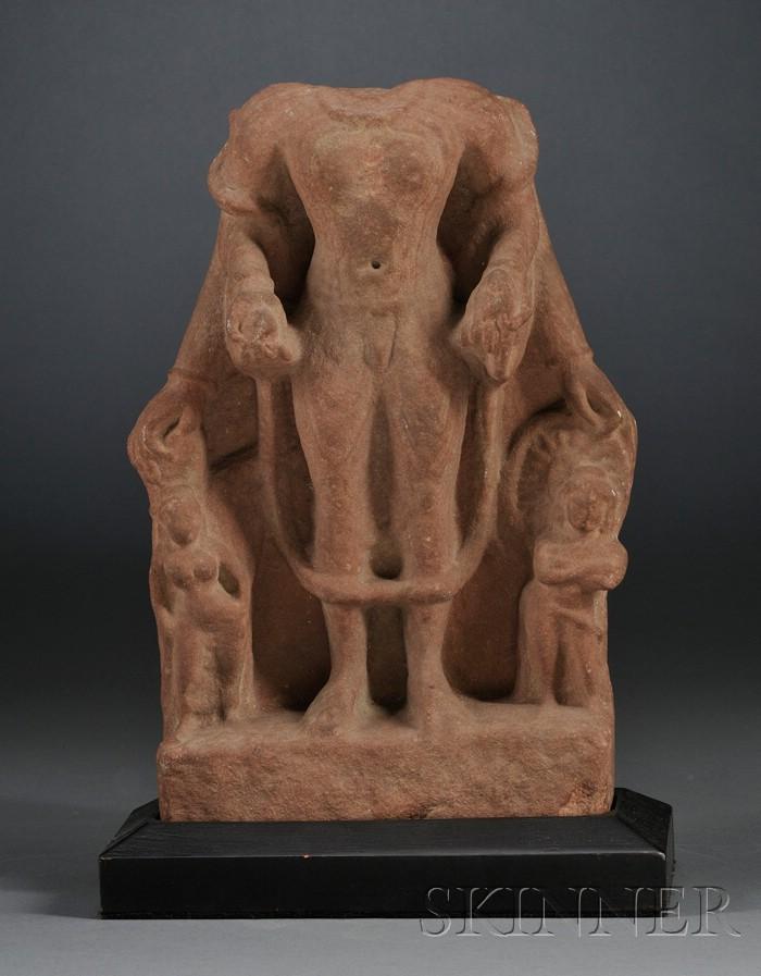 Red Sandstone Figure of Surya