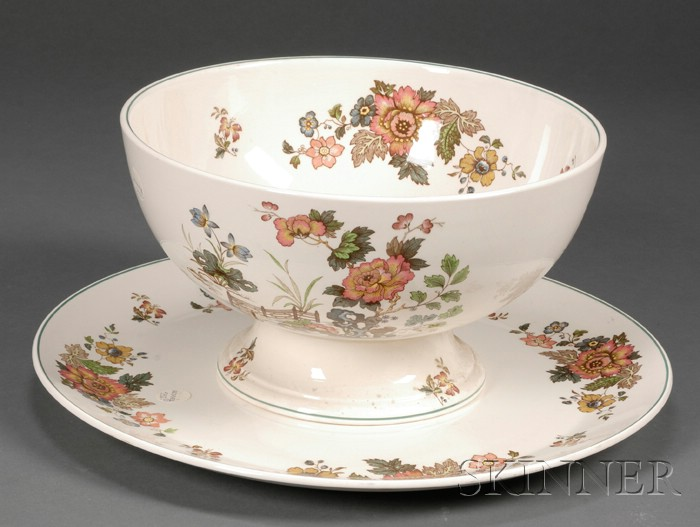 "Wedgwood Earthenware ""Eastern Flowers"" Pattern Punch Bowl and Platter"