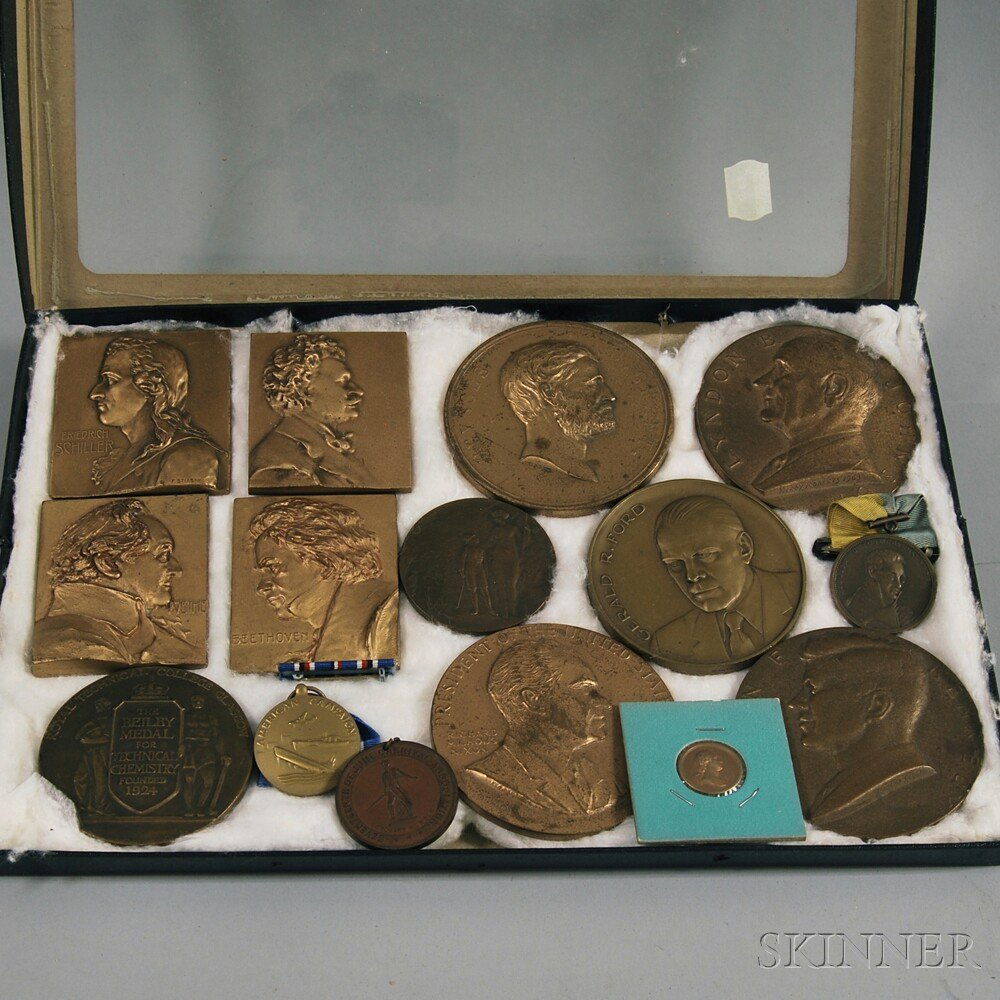 Fifteen Bronze Commemorative Medallions