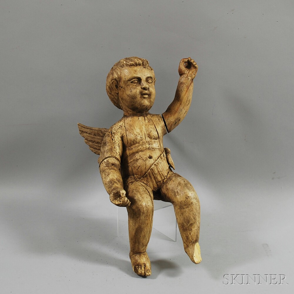 Spanish Colonial-style Carved Wood Cherub