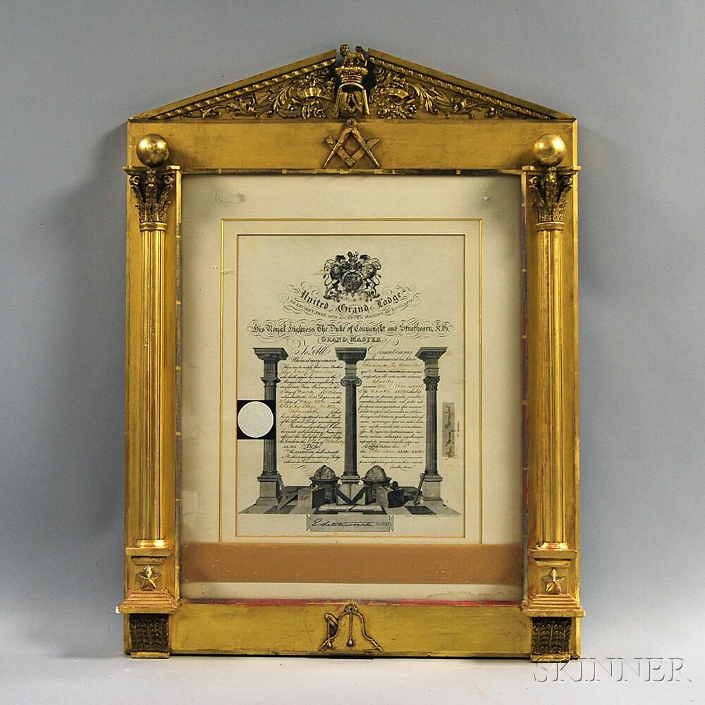 Framed Masonic Certificate