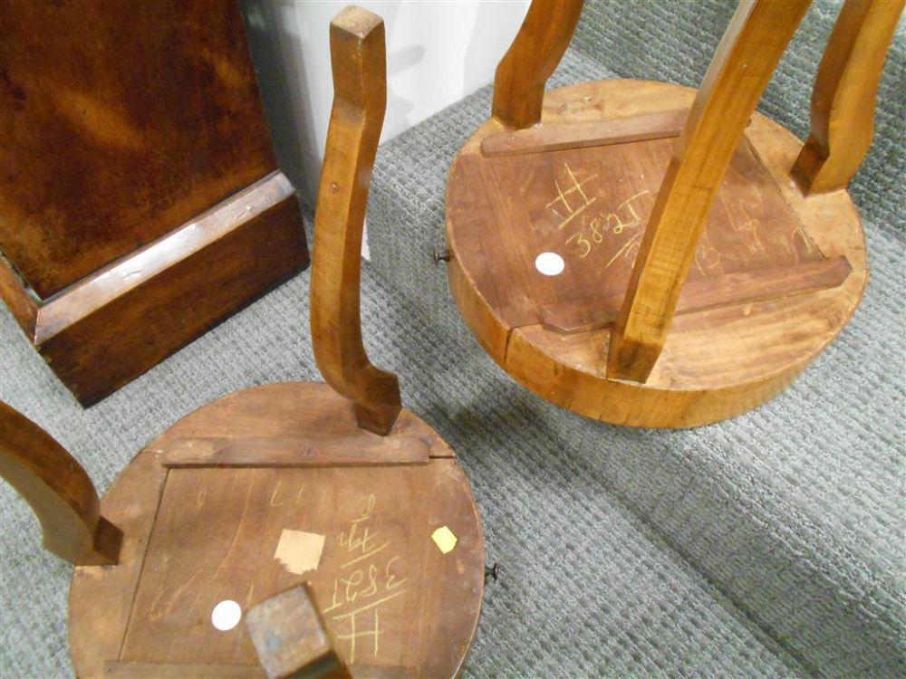 Two Biedermeier Walnut Side Tables