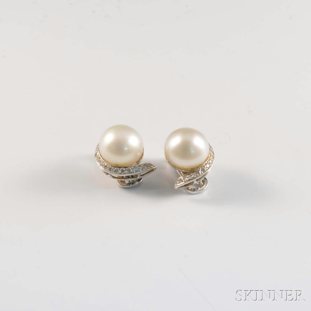 18kt White Gold, Pearl, and Diamond Earrings