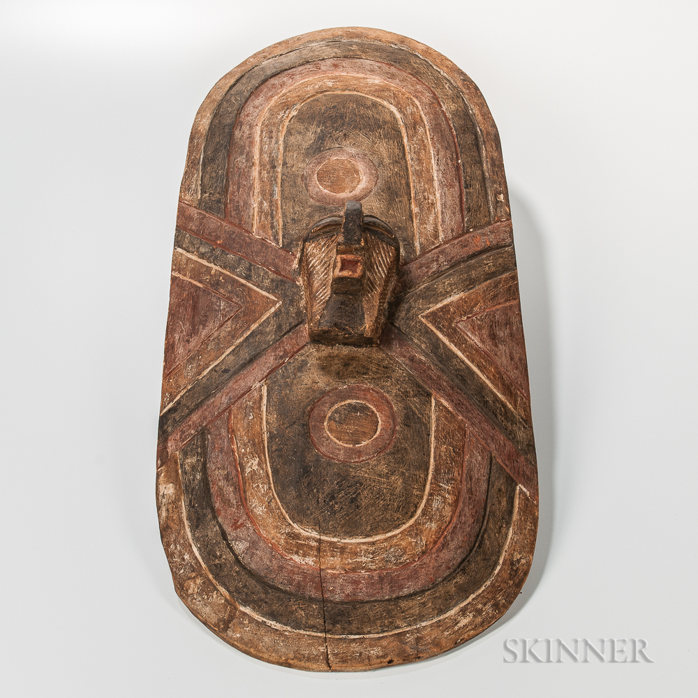 Songye-style Carved and Painted Wood Shield