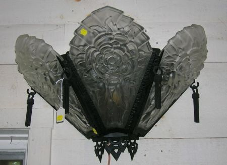 Pair of Art Deco Style Colorless Frosted Molded Glass Three-Panel and Black Painted Iron Wall Sconces