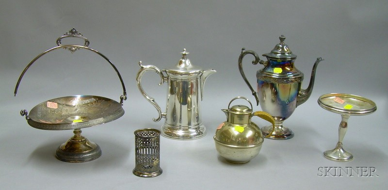 Five Silver Plated Table Items and a Sterling Silver Compote