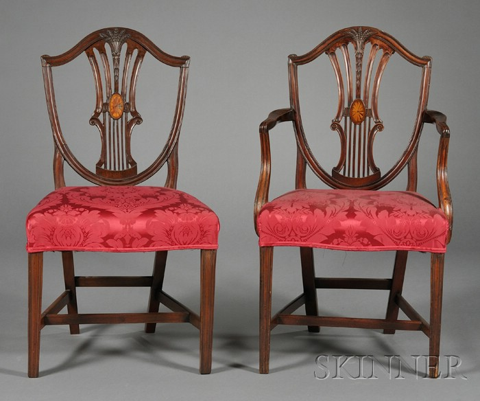Set of Seven George III Hepplewhite Shield-back Inlaid Mahogany Dining Chairs