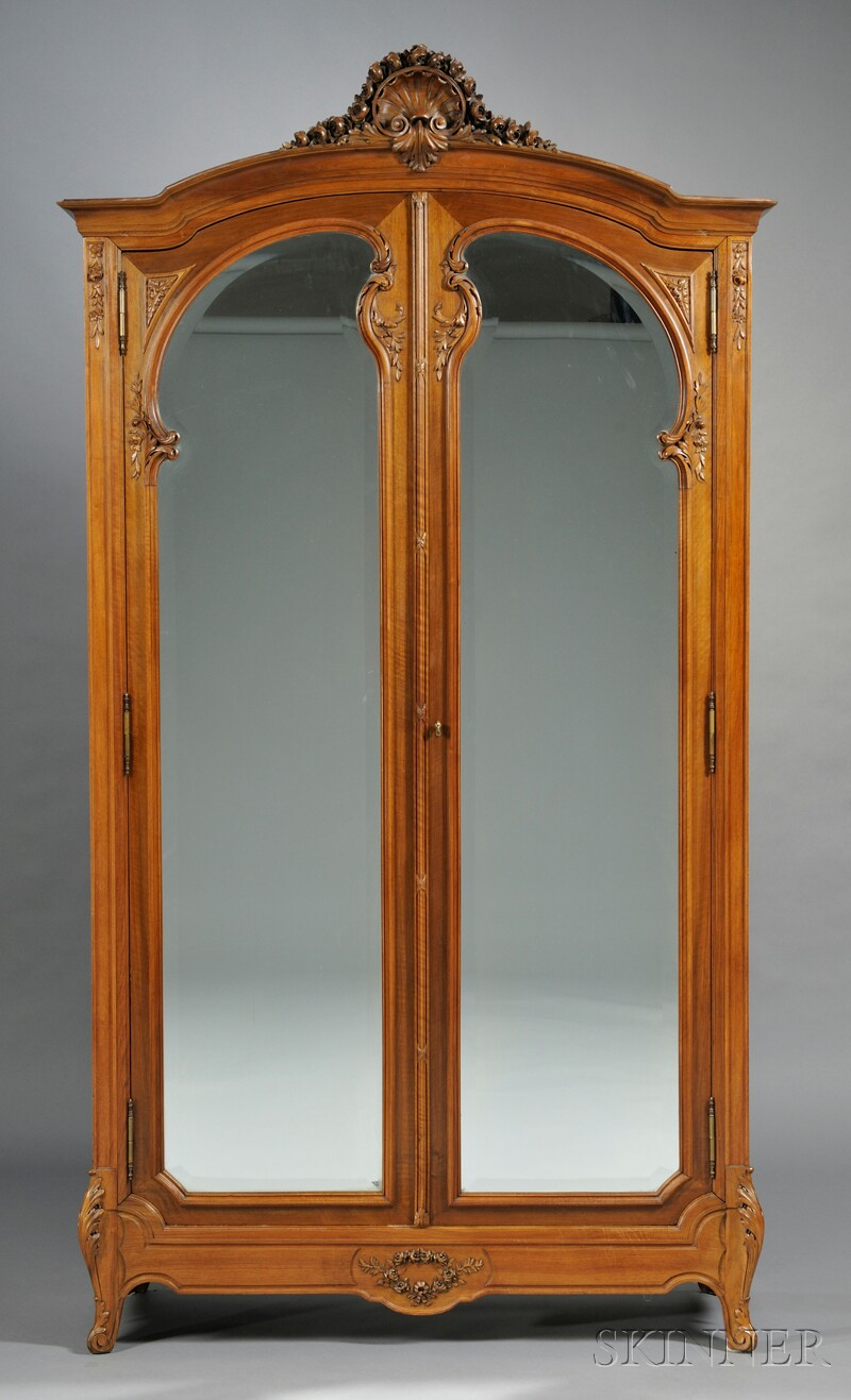 French Provincial-style Carved Walnut and Mirrored Armoire