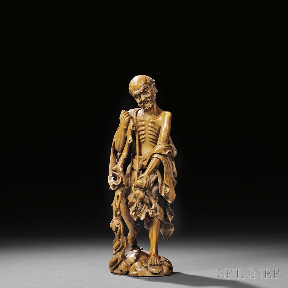 Carved Boxwood Figure of Li TieguaiCarved Boxwood Figure of Li Tieguai