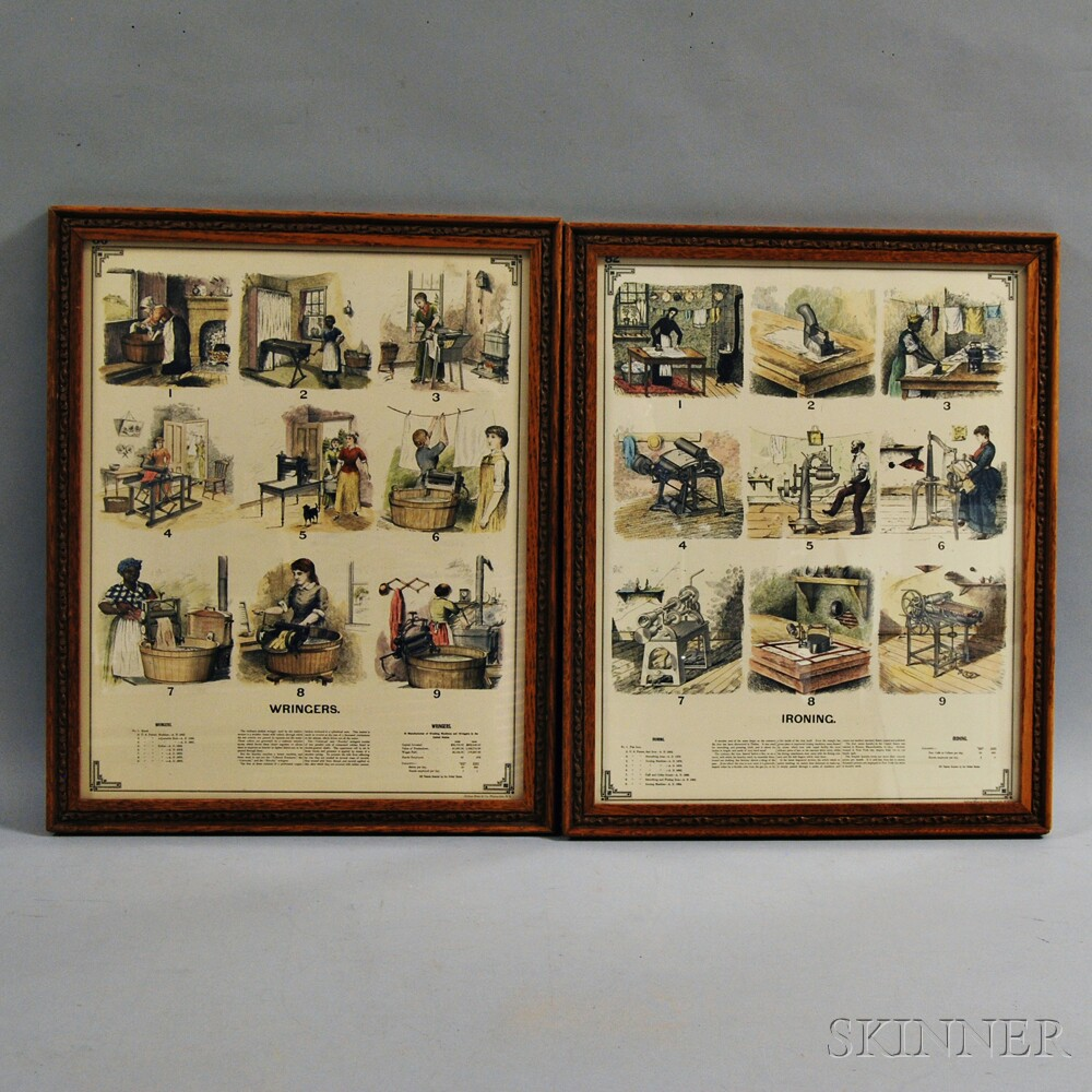 Two Framed and Colored Wringers and Ironing Ads.     Estimate $50-100