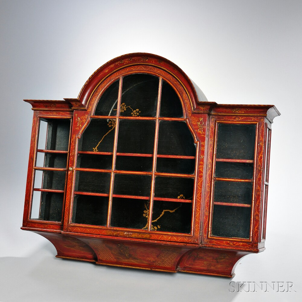 Georgian-style Red Japanned Wall Cabinet