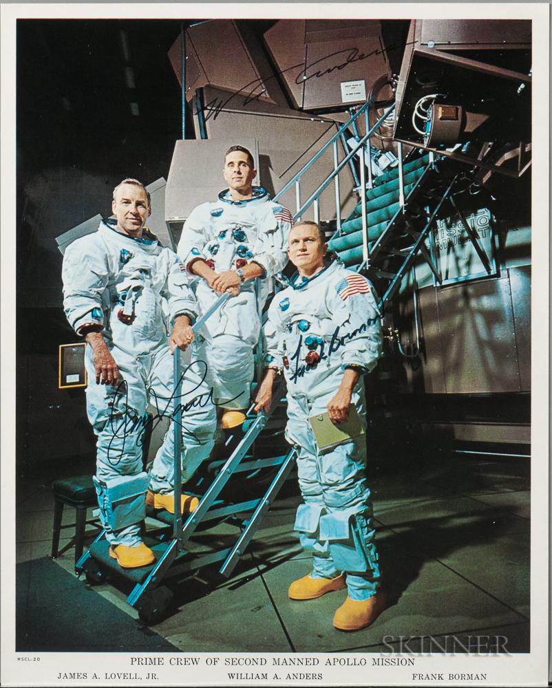 Apollo 8, Prime Crew, Autopen Signed Lithograph, December 1968.