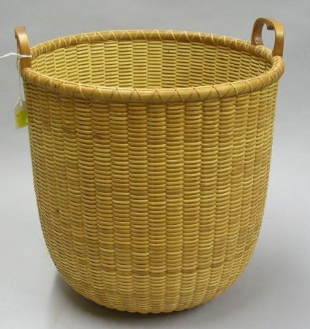 Tall Round Modern Nantucket Woven Two-Handled Basket