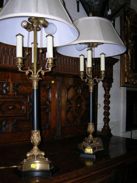 Pair of Empire-style Cast Brass and Ebonized Three-Light Bouillotte Table Lamps