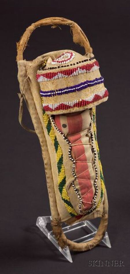 Southwest Beaded Hide and Cloth Model Cradle
