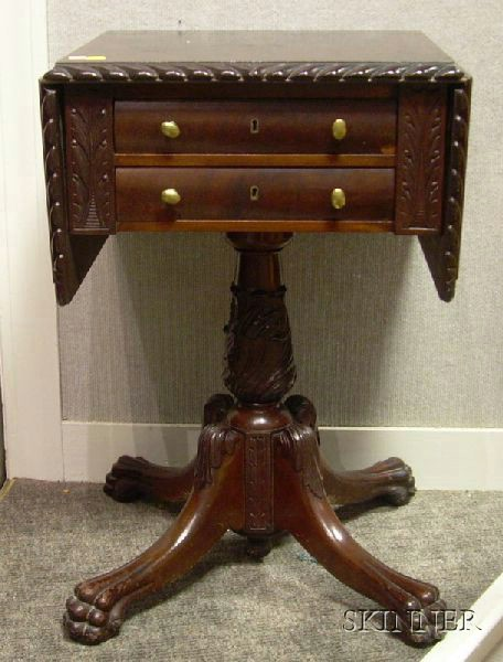 Classical-style Carved Mahogany Drop-leaf Two-Drawer Pedestal-base Work Table.