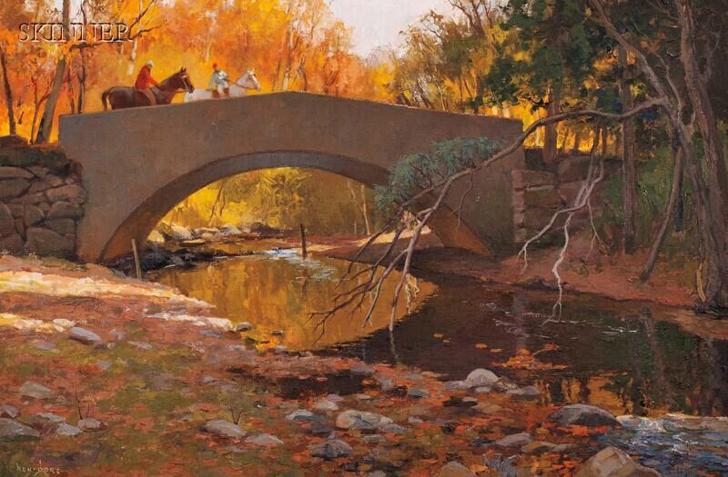 Ken Gore (American, 1911-1990)      Riders on the Bridge
