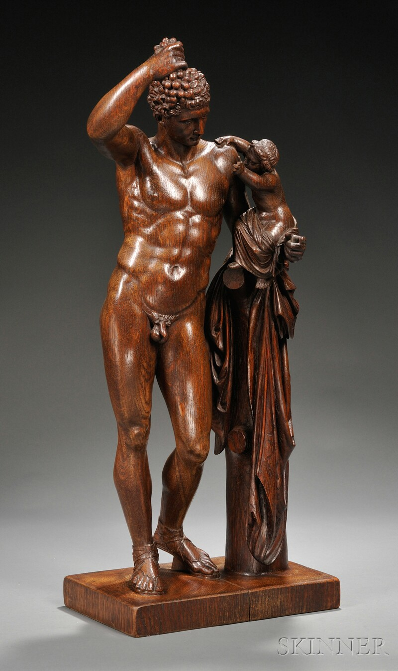 Carved Oak Figure of Dionysius and an Infant Bacchante