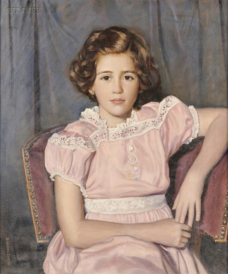 Walter Sherwood (American, 1874-1952)      Girl in Pink.