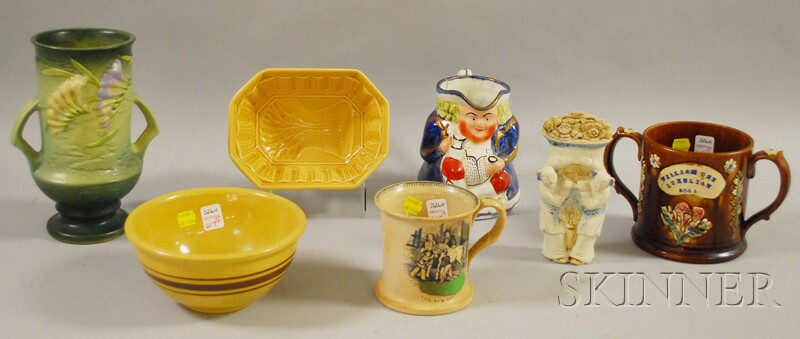 Seven Pieces of Assorted Decorated and Glazed Pottery
