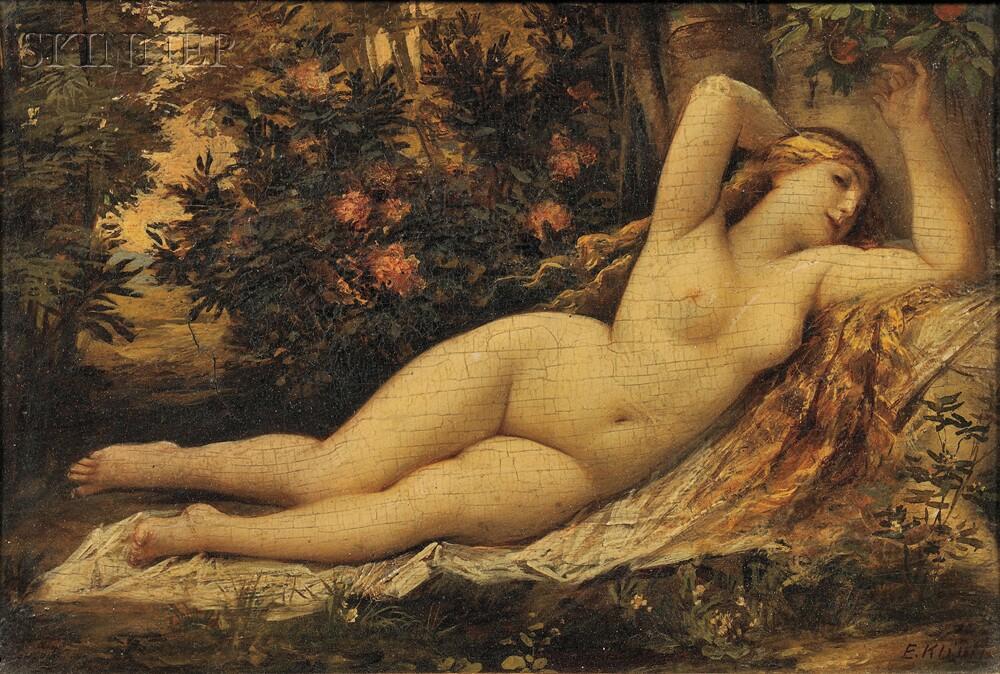Ernst Klimt (Austrian, 1864-1922)      Reclining Nude in a Landscape
