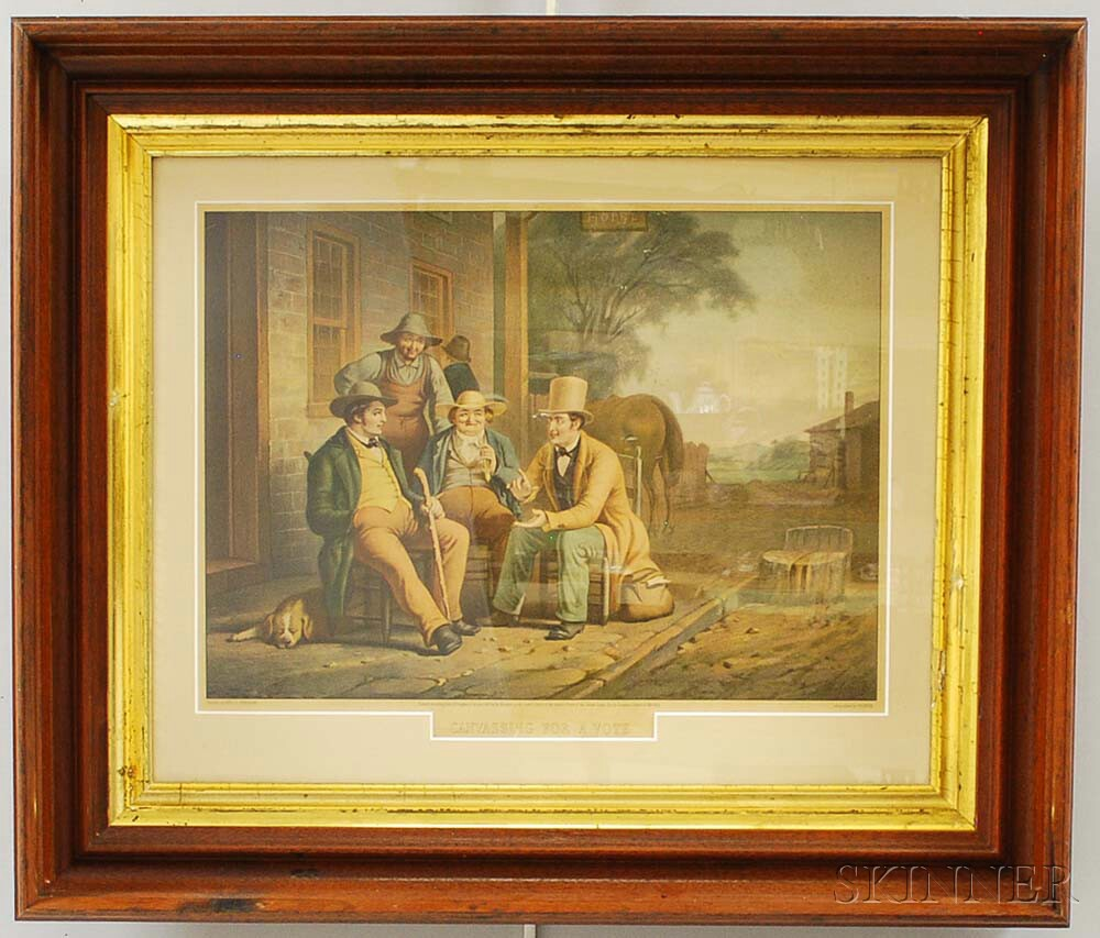 Framed M. Knoedler Lithograph After George Caleb Bingham's Canvassing for a Vote