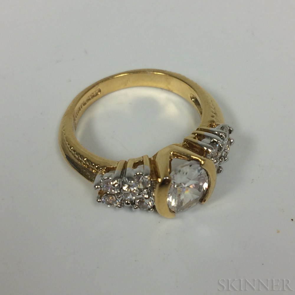 Gold-plated and Synthetic Stone Costume Ring