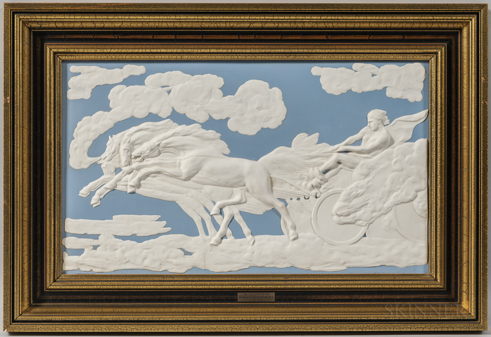 Modern Wedgwood Light Blue and White Jasper Fall of Phaeton   Plaque