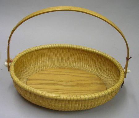 Oval Modern Nantucket Woven Basket with Swing Handle