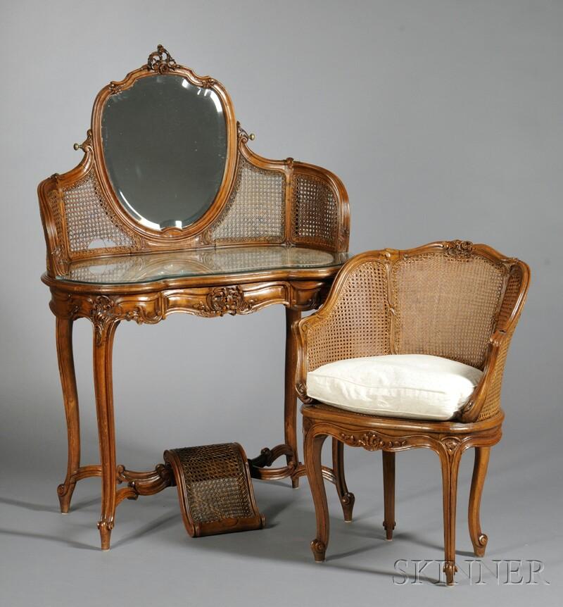 Louis XV-style Oak Vanity and Armchair