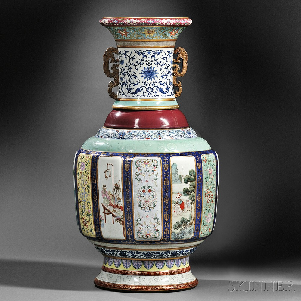 Sold for: $24,723,000 - Monumental Fencai   Flower and Landscape Vase